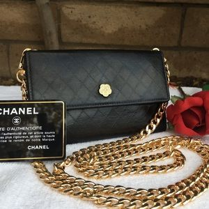 CHANEL GINZA TOKIO CAMELIA QUILTED WALLET